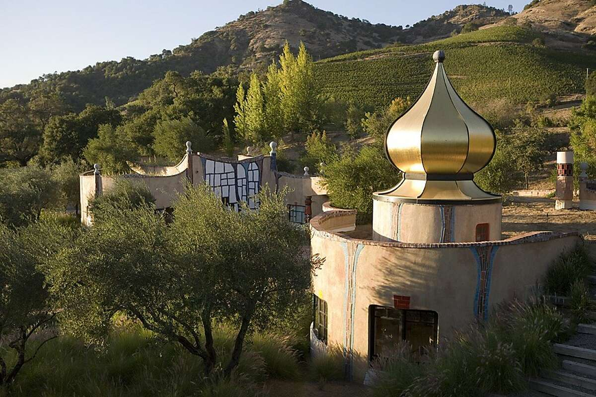 At the Quixote Winery Estate, no two windows or doors are alike and grass and trees grow on the roof. All this is capped with an onion dome of gold leaf. Quixote Winery, Napa Valley, CA