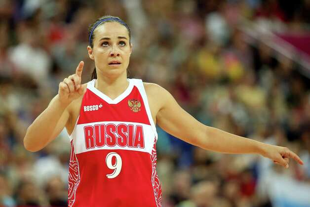 LONDON, ENGLAND - AUGUST 11:  Becky Hammon #9 of Russia looks on against Australia during the Women's Basketball Bronze Medal game on Day 15 of the London 2012 Olympic Games at North Greenwich Arena on August 11, 2012 in London, England. Photo: Christian Petersen, Getty Images / 2012 Getty Images