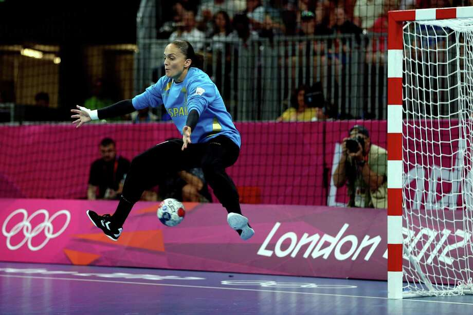 Silvia Navarro Jimenez of Spain tends goal against South Korea  during the women's handball bronze medal match on Saturday.  (Photo by Jeff Gross/Getty Images) Photo: Jeff Gross, Ap/getty / 2012 Getty Images