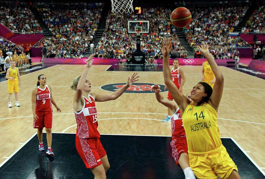 Australia's Liz Cambage (14) shoots against Russia during the women's basketball bronze medal game at the 2012 Summer Olympics, Saturday, Aug. 11, 2012, in London. (AP Photo/Sergio Perez, Pool) Photo: Sergio Perez, Associated Press / Pool Reuters