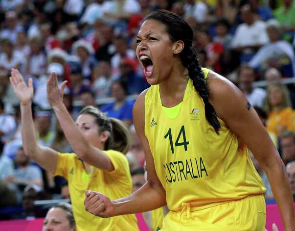 Australia's Elizabeth Cambage (14) cheers during a women's bronze medal basketball game against Russia at the 2012 Summer Olympics, Saturday, Aug. 11, 2012, in London. (AP Photo/Eric Gay) Photo: Eric Gay, Associated Press / AP