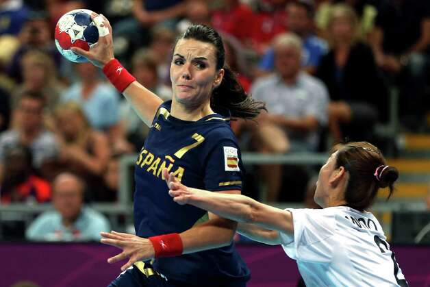 Beatriz Fernandez Ibanez  of Spain shoots the ball against South Korea during the women's handball bronze medal match Saturday..  (Photo by Jeff Gross/Getty Images) Photo: Jeff Gross, Ap/getty / 2012 Getty Images