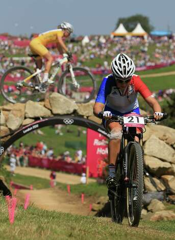 Pauline Prevot Ferrand of France competes during the women's cross-country mountain bike race Saturday.  (Photo by Phil Walter/Getty Images) Photo: Phil Walter, Ap/getty / 2012 Getty Images
