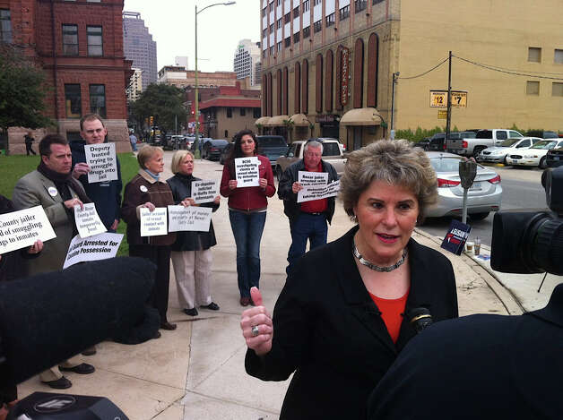 GOP candidate for sheriff Susan Pamerleau was backed by several supporters at the Bexar County Courthouse on Feb. 7 when she first unveiled a long list of criticisms of Sheriff Amadeo Ortiz. Pamerleau, who faces Ortiz in the Nov. 6 general election, alleged a pattern of mismanagement by the Democratic incumbent, and now sheÕs saying the pattern continues. Pamerleau said this week that the heat-related deaths of two K-9s in a deputyÕs vehicle are only the latest missteps at the SheriffÕs Office. Photo: San Antonio Express-News