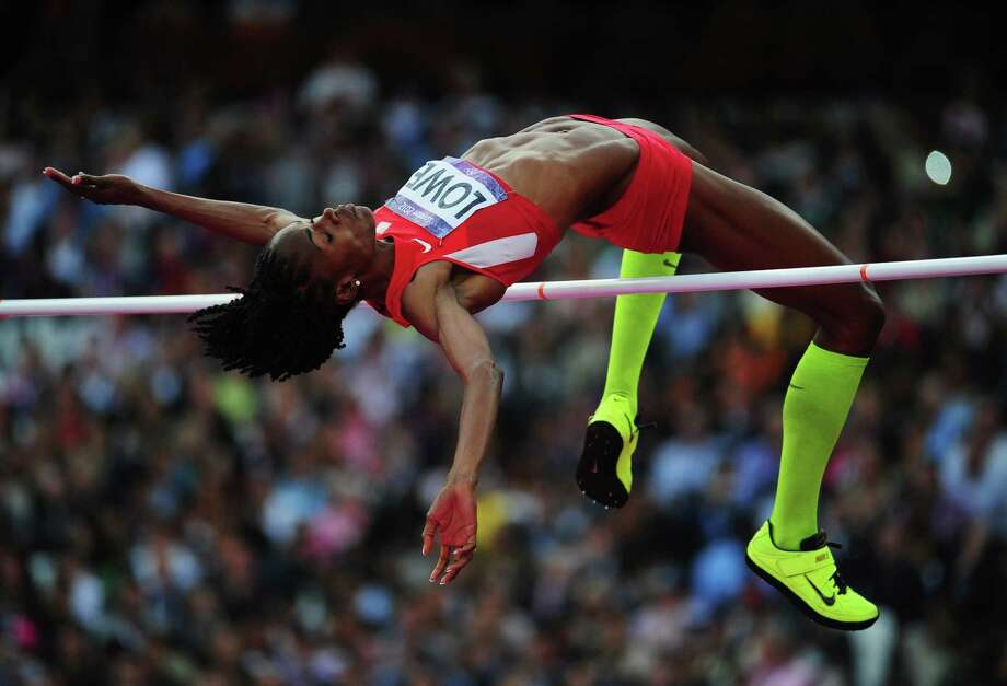 Chaunte Lowe of the United States competes during the women's high jump final on Saturday.  (Photo by Stu Forster/Getty Images) Photo: Stu Forster, Ap/getty / 2012 Getty Images