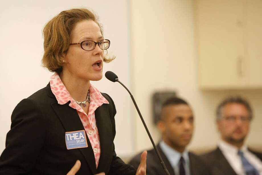 Candidate Thea Selby is seen speaking at the candidates debate for District Five supervisor at the Park Branch Library on Wednesday, August 8, 2012 in San Francisco, Calif. Photo: Megan Farmer, The Chronicle
