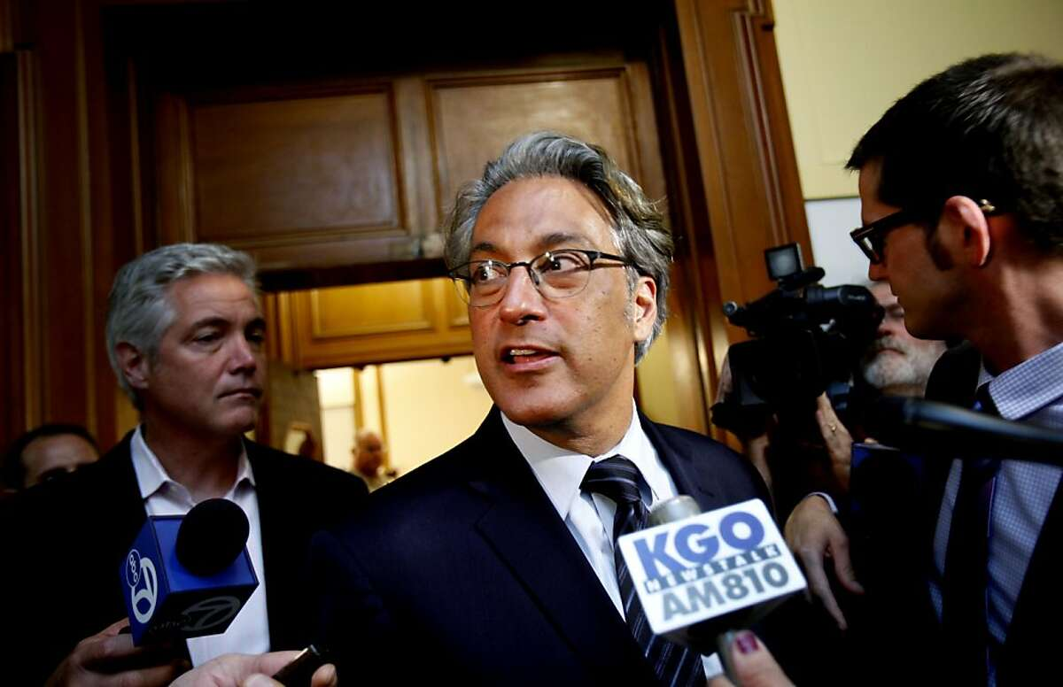 Suspended Sheriff Ross Mirkarimi speaks with reporters after his Ethics Commission hearing in San Francisco, Calif., Wednesday, July 18, 2012.
