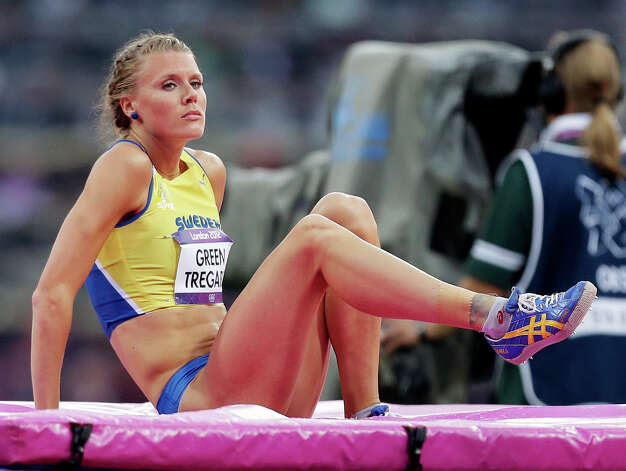 Sweden's Emma Green Tregaro reacts after taking a jump in the women's high jump final Saturday. (AP Photo/Hassan Ammar) Photo: Ap/getty