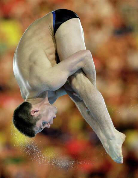 David Boudia from the US competes during the men's 10-meter platform diving on Saturday. He won the
