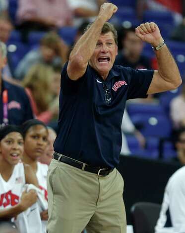 US head coach Geno Auriemma gestures towards his player during the gold-medal match that the U.S. won on Ssturday. (AP Photo/Charles Krupa) Photo: Ap/getty