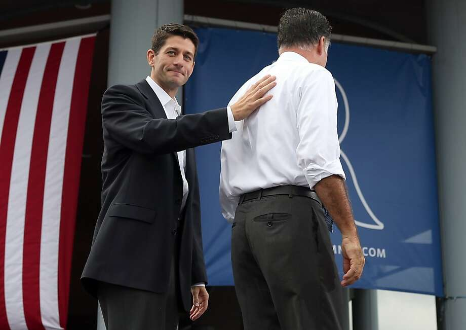 Mitt Romney introduces seven-term Rep. Paul Ryan of Wisconsin (left) as his choice for vice president. Photo: Justin Sullivan, Getty Images