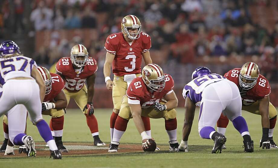 San Francisco 49ers quarterback Scott Tolzien (3) and San Francisco 49ers center Chase Beeler (61) an NFL football game in San Francisco, Friday, Aug. 10, 2012. (AP Photo/=Paul Sakuma) Photo: Paul Sakuma, Associated Press