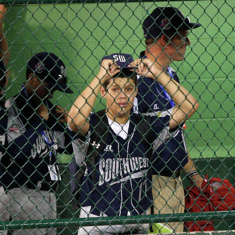 McAllister Park Little League's Travis Daves reacts after they lost to Chula Vista, Calif., 12-2 in the U.S. Championship game of the 2009 Little League World Series on Saturday, Aug. 29, 2009 in South Williamsport, Pa. San Antonio will meet Reynosa, Mexico, for the third place on Sunday. Photo: Jerry Lara, San Antonio Express-News / glara@express-news.net