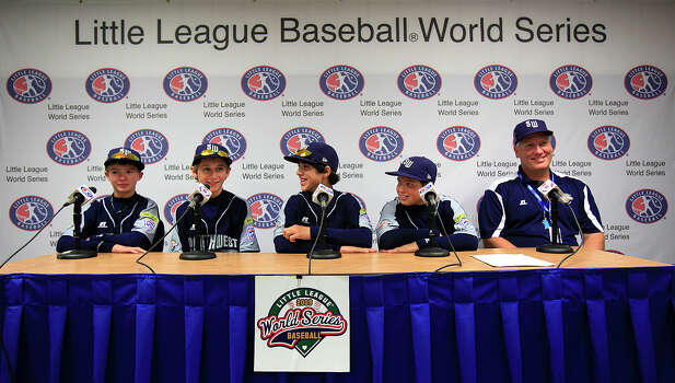 McAllister Park Little League's Wyatt Willis (from left), Tanner Scarborough, Jacob Ramos, John Shull and Manager Mike Shull meet the media during a press conference at the International Little League Complex in South Williamsport, Pa., Friday, Aug. 28, 2009. Photo: Jerry Lara, San Antonio Express-News / glara@express-news.net