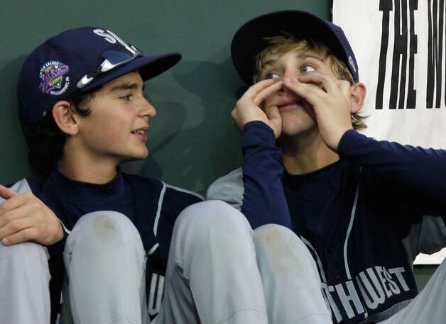 McAllister Park players Zachary Morrow (left) and Tanner Scarborough joke around for national television before playing Chula Vista, Calif., in the last game of pool play of the 2009 Little League Baseball World Series in South Williamsport, Pa, Tuesday, Aug. 25, 2009. Photo: Jerry Lara, San Antonio Express-News / glara@express-news.net