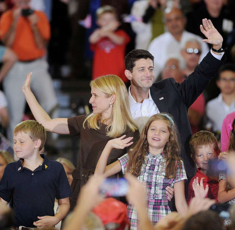 Republican vice-presidential candidate Paul Ryan brings his family along to a campaign appearance on Saturday with Republican presidential candidate Mitt Romney in Ashland, Va. Photo: Olivier Douliery / Abaca Press