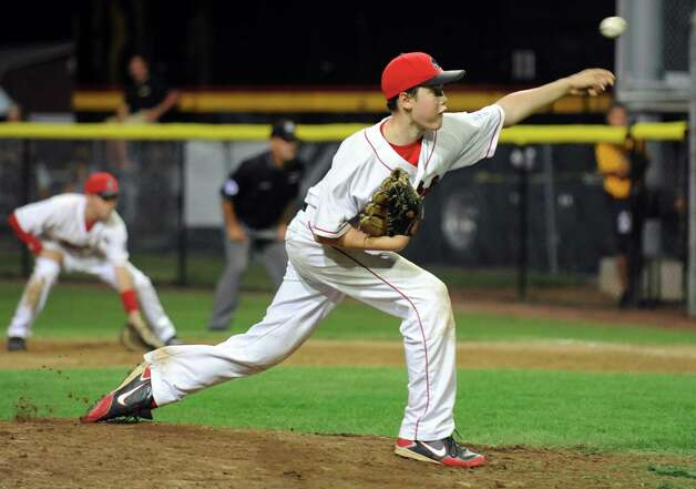 Fairfield American's Matt Kubel pitches to Bedford Little League, of New Hampshire, Saturday August 11, 2012 during the New England Regional championship at Breen Field in Bristol, Conn.  Fairfield beat Bedford 14-0. Photo: Autumn Driscoll / Connecticut Post