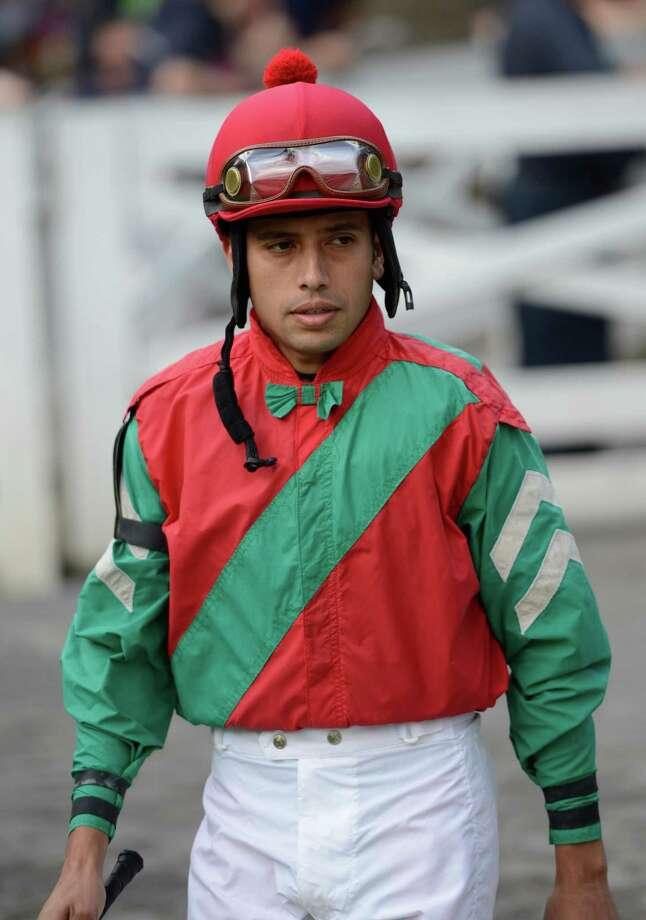 Jockey Carlos Montalvo got his first win at the Saratoga Race Course in Saratoga Springs, N.Y. Aug 10, 2012.      (Skip Dickstein/Times Union) Photo: Skip Dickstein