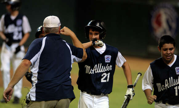 Steven Cardone of McAllister Park celebrates after hitting a home run in the top of the sixth to put his team ahead, 6-4, over Bridge City in Waco on Thursday, Aug. 13, 2009. Photo: Billy Calzada, San Antonio Express-News / gcalzada@express-news.net