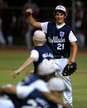 McAllister Park relief pitcher Steve Cardone celebrates as his team records the final out to defeat Bridge City in Waco on Thursday, Aug. 13, 2009 to go to the Little League World Series. Photo: Billy Calzada, San Antonio Express-News / gcalzada@express-news.net