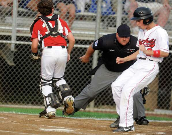Fairfield American plays Bedford Little League, of New Hampshire, Saturday August 11, 2012 during the New England Regional championship at Breen Field in Bristol, Conn.  Fairfield beat Bedford 14-0. Photo: Autumn Driscoll / Connecticut Post