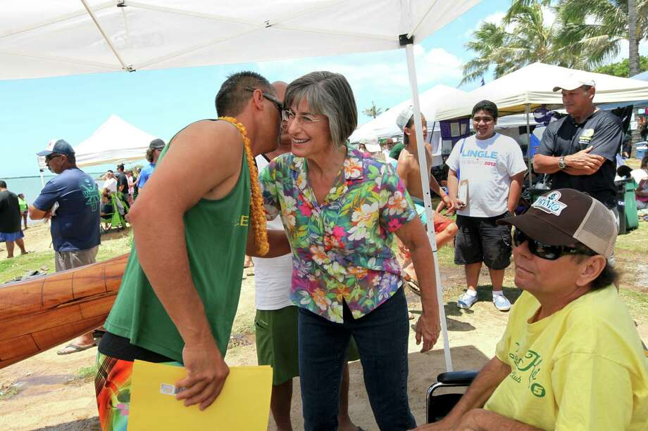 Linda Lingle, a Republican running for the U.S. Senate, campaigns at the Hawaii Canoe-Racing Association state championship in Honolulu. Hawaii held its primary Saturday, but results were not available. Photo: MONICA ALMEIDA / NYTNS