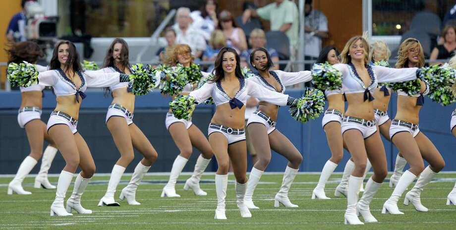 Seattle Seahawks Sea Gals cheerleaders perform Saturday. Photo: Ap