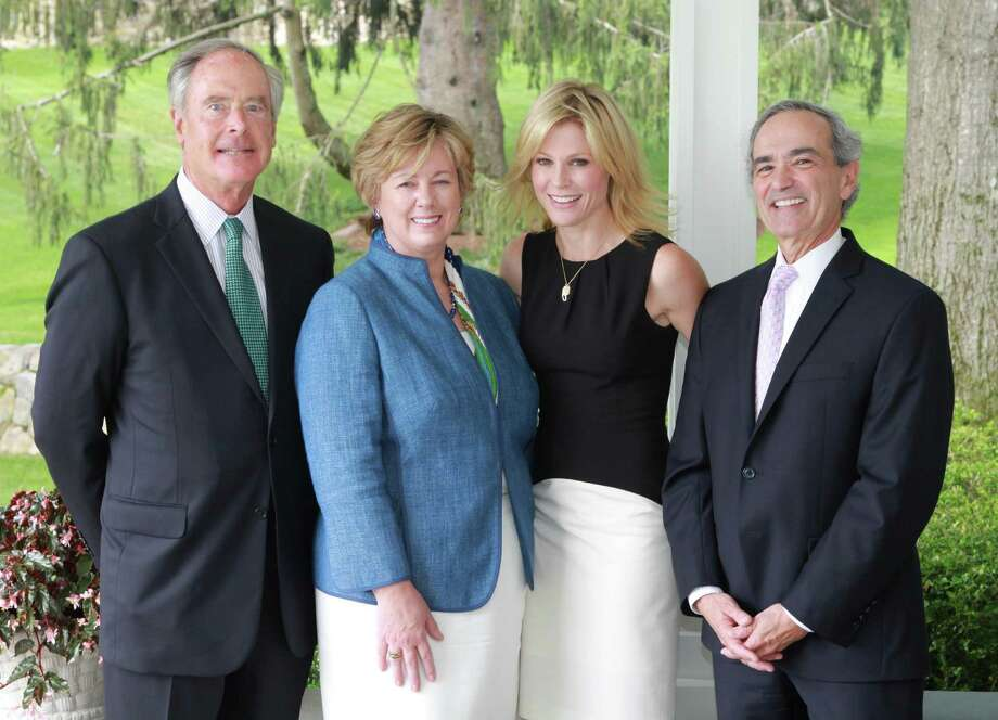 Peter Oldershaw, JoAnn Keller and Manny Andrade of People's United Wealth Management, the annual Rose of Hope Luncheon's lead corporate sponsor for the fifth consecutive year, stand with actress Julie Bowen, third from left, during the event. Photo: Contributed Photo
