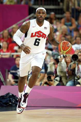 LONDON, ENGLAND - AUGUST 12:  LeBron James #6 of the United States dribbles the ball during the Men's Basketball gold medal game between the United States and Spain on Day 16 of the London 2012 Olympics Games at North Greenwich Arena on August 12, 2012 in London, England. Photo: Christian Petersen, Getty Images / 2012 Getty Images