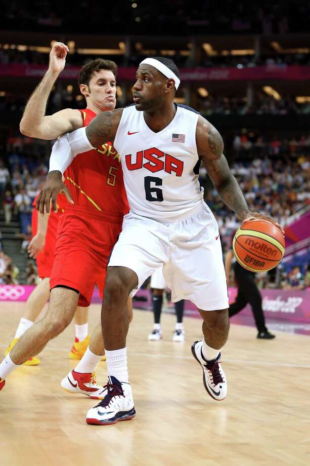 LONDON, ENGLAND - AUGUST 12:  LeBron James #6 of the United States looks to pass the ball during the Men's Basketball gold medal game between the United States and Spain on Day 16 of the London 2012 Olympics Games at North Greenwich Arena on August 12, 2012 in London, England. Photo: Christian Petersen, Getty Images / 2012 Getty Images