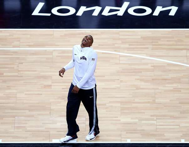 LONDON, ENGLAND - AUGUST 12: Russell Westbrook #7 of the United States warms up ahead of the Men's Basketball gold medal game against Spain on Day 16 of the London 2012 Olympics Games at North Greenwich Arena on August 12, 2012 in London, England. Photo: Streeter Lecka, Getty Images / 2012 Getty Images