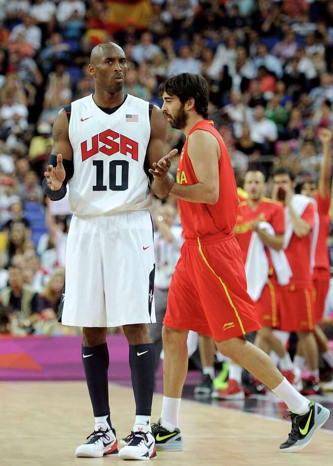 LONDON, ENGLAND - AUGUST 12:  Kobe Bryant #10 of the United States reacts to a foul call during the Men's Basketball gold medal game between the United States and Spain on Day 16 of the London 2012 Olympics Games at North Greenwich Arena on August 12, 2012 in London, England. Photo: Harry How, Getty Images / 2012 Getty Images