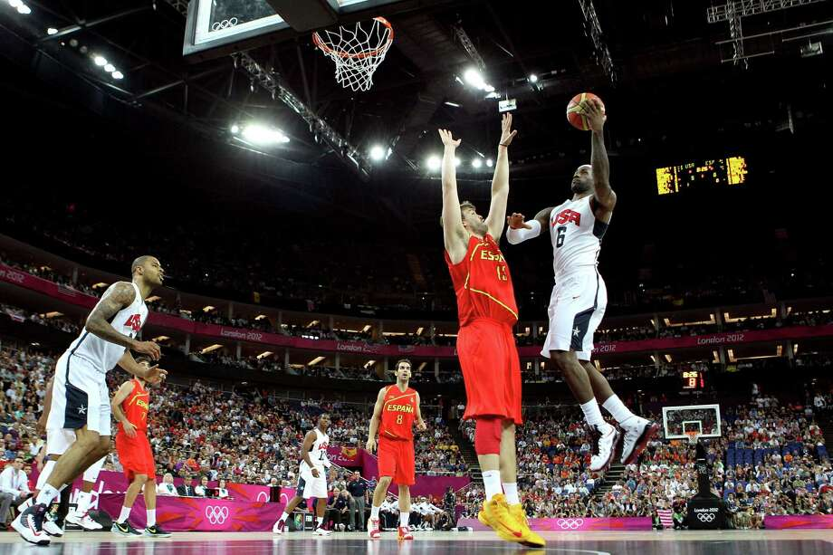 LONDON, ENGLAND - AUGUST 12:  LeBron James #6 of of the United States drives for a shot attempt against Marc Gasol #13 of Spain during the Men's Basketball gold medal game on Day 16 of the London 2012 Olympics Games at North Greenwich Arena on August 12, 2012 in London, England. Photo: Christian Petersen, Getty Images / 2012 Getty Images