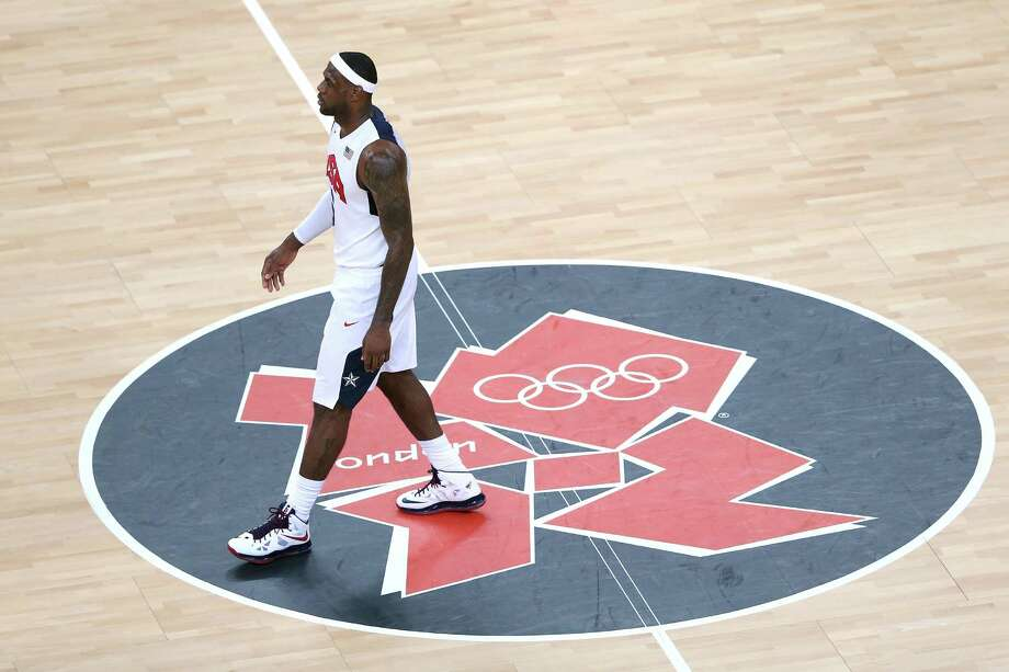 LONDON, ENGLAND - AUGUST 12:  LeBron James #6 of the United States looks on during the Men's Basketball gold medal game between the United States and Spain on Day 16 of the London 2012 Olympics Games at North Greenwich Arena on August 12, 2012 in London, England. Photo: Streeter Lecka, Getty Images / 2012 Getty Images