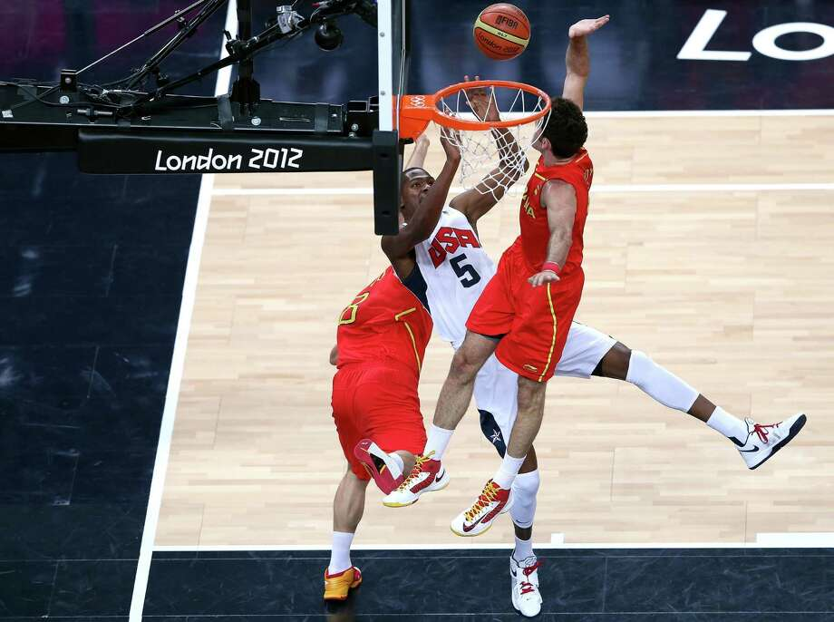 LONDON, ENGLAND - AUGUST 12:  Sergio Rodriguez #6 of Spain blocks Kevin Durant #5 of the United States during the Men's Basketball gold medal game between the United States and Spain on Day 16 of the London 2012 Olympics Games at North Greenwich Arena on August 12, 2012 in London, England. Photo: Streeter Lecka, Getty Images / 2012 Getty Images