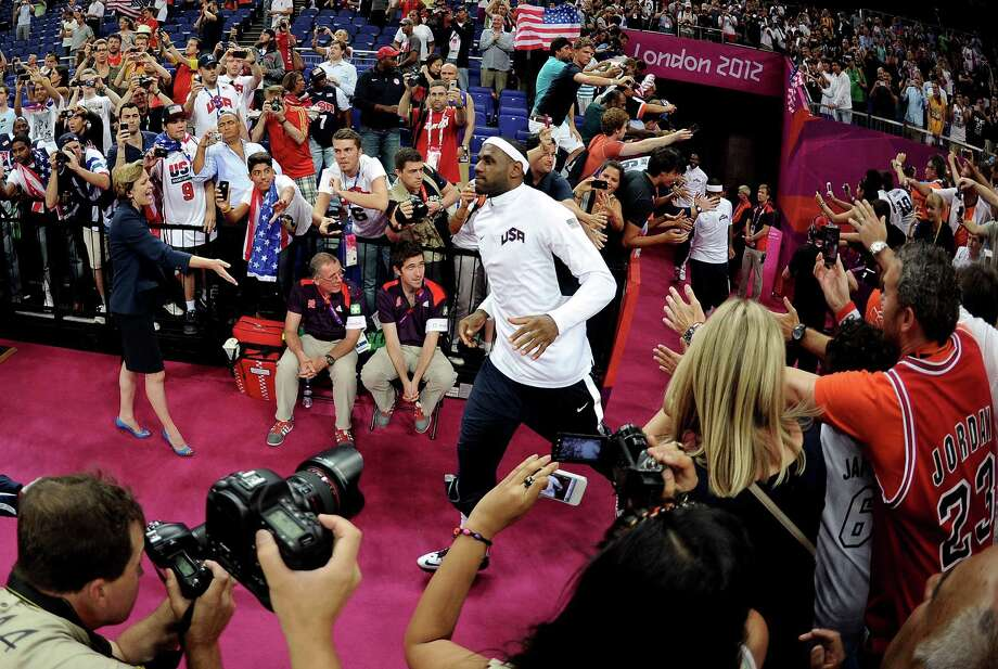 LONDON, ENGLAND - AUGUST 12:  LeBron James #6 of of the United States runs out to the court to play against Spain during the Men's Basketball gold medal game on Day 16 of the London 2012 Olympics Games at North Greenwich Arena on August 12, 2012 in London, England. Photo: Harry How, Getty Images / 2012 Getty Images
