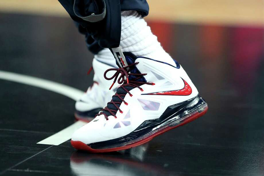 LONDON, ENGLAND - AUGUST 12:  Detailed view of the shoes of LeBron James #6 of of the United States ahead the Men's Basketball gold medal game between the United States and Spain on Day 16 of the London 2012 Olympics Games at North Greenwich Arena on August 12, 2012 in London, England. Photo: Christian Petersen, Getty Images / 2012 Getty Images