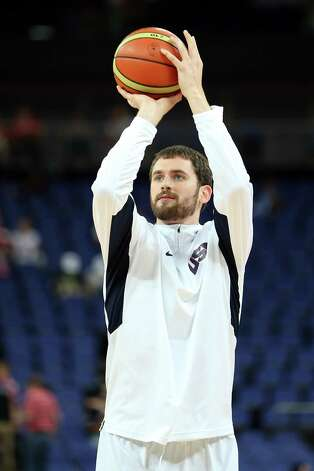 LONDON, ENGLAND - AUGUST 12:  Kevin Love #11 of of the United States warms up against Spain during the Men's Basketball gold medal game on Day 16 of the London 2012 Olympics Games at North Greenwich Arena on August 12, 2012 in London, England. Photo: Christian Petersen, Getty Images / 2012 Getty Images