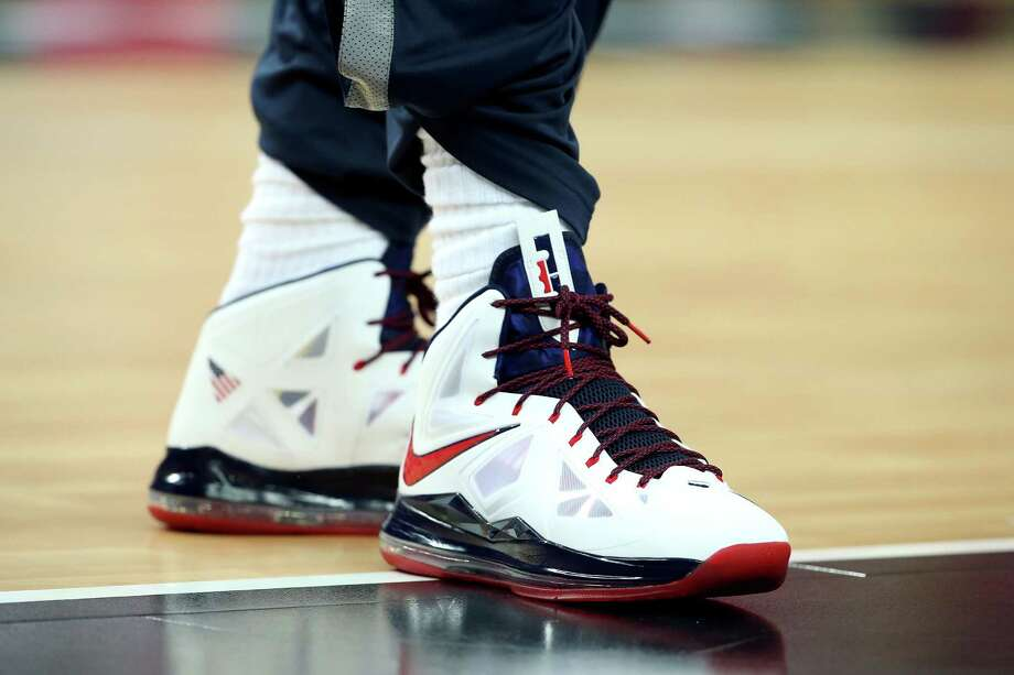 LONDON, ENGLAND - AUGUST 12:  Detailed view of the shoes of LeBron James #6 of the United States ahead the Men's Basketball gold medal game between the United States and Spain on Day 16 of the London 2012 Olympics Games at North Greenwich Arena on August 12, 2012 in London, England. Photo: Christian Petersen, Getty Images / 2012 Getty Images