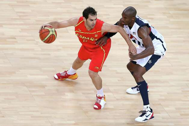 LONDON, ENGLAND - AUGUST 12:  Kobe Bryant #10 of the United States defends against Jose Calderon #8 of Spain during the Men's Basketball gold medal game between the United States and Spain on Day 16 of the London 2012 Olympics Games at North Greenwich Arena on August 12, 2012 in London, England. Photo: Streeter Lecka, Getty Images / 2012 Getty Images