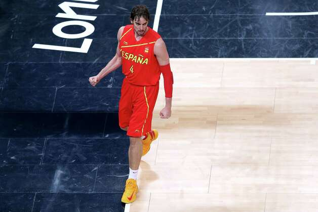LONDON, ENGLAND - AUGUST 12:  Pau Gasol #4 of Spain looks on after making a basket during the Men's Basketball gold medal game between the United States and Spain on Day 16 of the London 2012 Olympics Games at North Greenwich Arena on August 12, 2012 in London, England. Photo: Streeter Lecka, Getty Images / 2012 Getty Images
