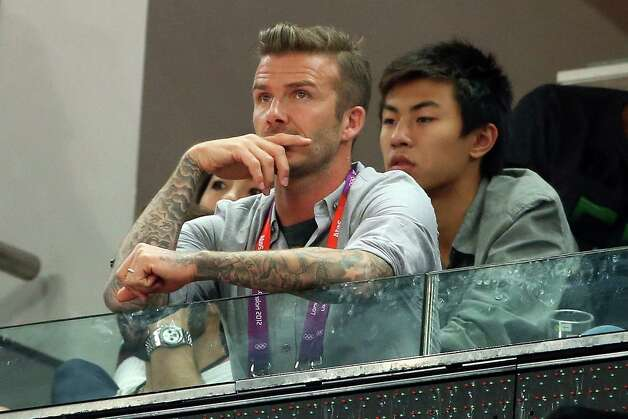 LONDON, ENGLAND - AUGUST 12:  David Beckham during the Men's Basketball gold medal game between the United States and Spain on Day 16 of the London 2012 Olympics Games at North Greenwich Arena on August 12, 2012 in London, England. Photo: Christian Petersen, Getty Images / 2012 Getty Images
