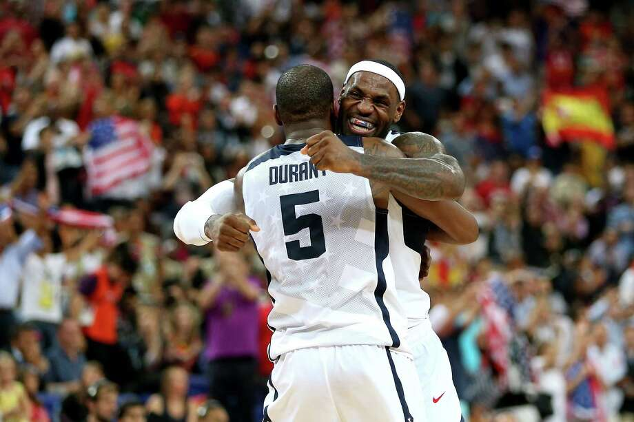 LONDON, ENGLAND - AUGUST 12:  Kevin Durant #5 of the United States and team mate LeBron James #6 of the United States celebrate in the Men's Basketball gold medal game between the United States and Spain on Day 16 of the London 2012 Olympics Games at North Greenwich Arena on August 12, 2012 in London, England. Photo: Christian Petersen, Getty Images / 2012 Getty Images