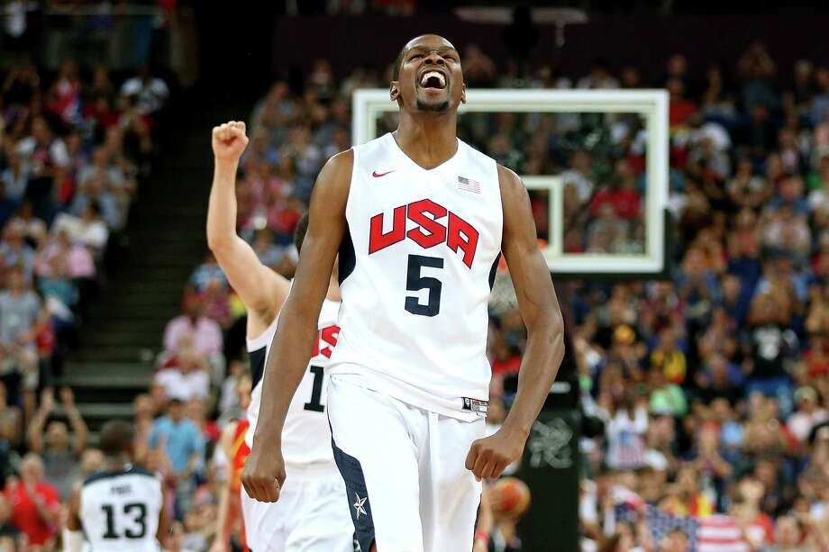 LONDON, ENGLAND - AUGUST 12:  Kevin Durant #5 of the United States celebrates a shot during the Men's Basketball gold medal game between the United States and Spain on Day 16 of the London 2012 Olympics Games at North Greenwich Arena on August 12, 2012 in London, England. Photo: Christian Petersen, Getty Images / 2012 Getty Images