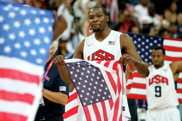 LONDON, ENGLAND - AUGUST 12:  Kevin Durant #5 of the United States celebrates winning the Men's Basketball gold medal game between the United States and Spain on Day 16 of the London 2012 Olympics Games at North Greenwich Arena on August 12, 2012 in London, England. The United States won the match 107-100. Photo: Christian Petersen, Getty Images / 2012 Getty Images