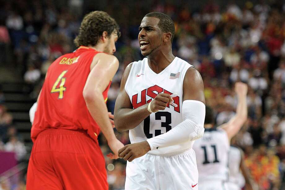 LONDON, ENGLAND - AUGUST 12:  Chris Paul #13 of the United States reacts against Spain during the Men's Basketball gold medal game on Day 16 of the London 2012 Olympics Games at North Greenwich Arena on August 12, 2012 in London, England. Photo: Harry How, Getty Images / 2012 Getty Images