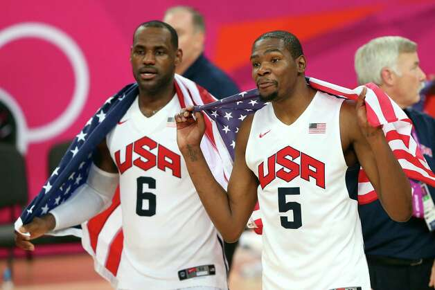 LONDON, ENGLAND - AUGUST 12:  Team mates LeBron James #6 of the United States and Kevin Durant #5 of the United States celebrate winning the Men's Basketball gold medal game between the United States and Spain on Day 16 of the London 2012 Olympics Games at North Greenwich Arena on August 12, 2012 in London, England. The United States won the match 107-100. Photo: Streeter Lecka, Getty Images / 2012 Getty Images