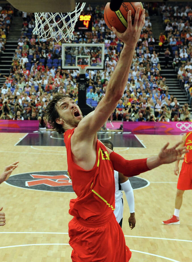 LONDON, ENGLAND - AUGUST 12:  Pau Gasol of Spain goes to the basket during the Men's Basketball Gold medal game between the United States and Spain on Day 16 of the London 2012 Olympics Games at North Greenwich Arena on August 12, 2012 in London, England. Photo: Pool, Getty Images / 2012 Getty Images