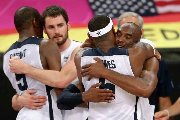 LONDON, ENGLAND - AUGUST 12:  Team mates Kevin Durant #5 of the United States, Kevin Love #11 of the United States, LeBron James #6 of the United States and Kobe Bryant #10 of the United States  celebrate winning the Men's Basketball gold medal game between the United States and Spain on Day 16 of the London 2012 Olympics Games at North Greenwich Arena on August 12, 2012 in London, England. The United States won the match 107-100. Photo: Streeter Lecka, Getty Images / 2012 Getty Images