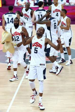 LONDON, ENGLAND - AUGUST 12:  Kevin Durant #5 of the United States celebrates winning the Men's Basketball gold medal game between the United States and Spain on Day 16 of the London 2012 Olympics Games at North Greenwich Arena on August 12, 2012 in London, England. The United States won the match 107-100. Photo: Streeter Lecka, Getty Images / 2012 Getty Images
